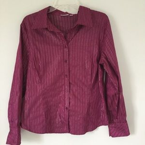Maroon & Metallic Striped Button Down Shirt - XL